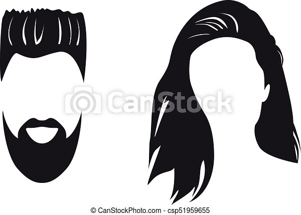 illustration of man and woman face silhouette isolated on white rh canstockphoto com man face silhouette vector free face silhouette vector free