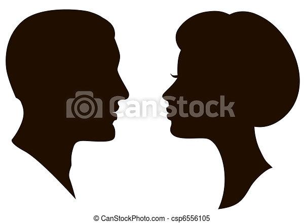 man and woman faces profiles  - csp6556105