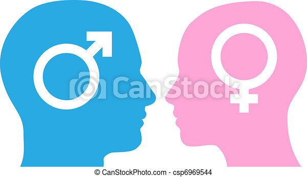 Man and woman facing each other - csp6969544