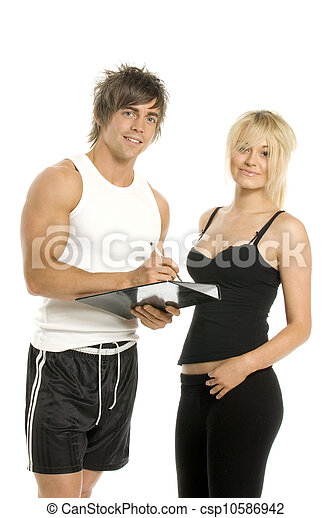 Man and woman filling forms isolated on a white background - csp10586942
