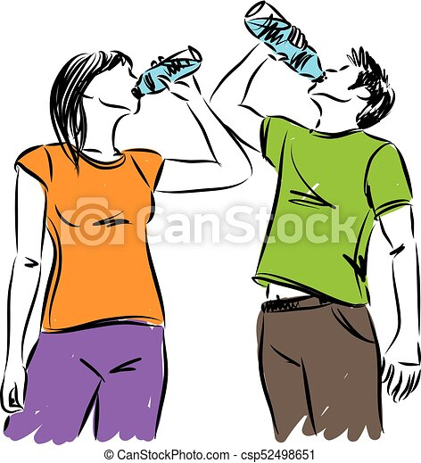 man and woman fitness drinking water vector clipart vector rh canstockphoto com man and woman clip art and cartoons old man and woman clipart