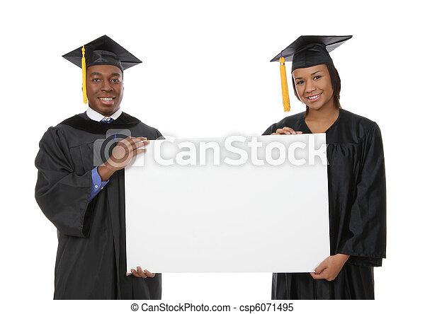 Man and Woman Graduation Sign - csp6071495