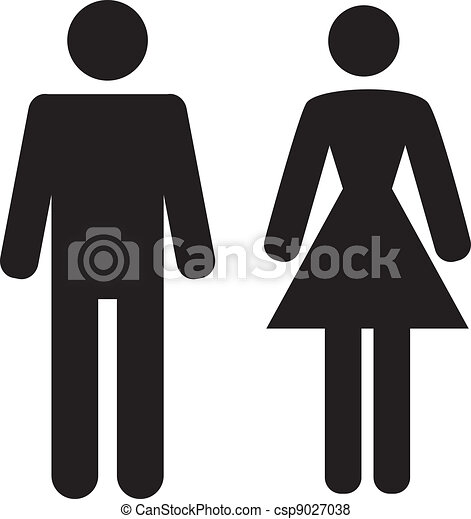 Man and Woman icon on white background - csp9027038