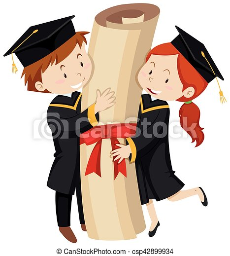 man and woman in graduation gown illustration vectors search clip rh canstockphoto com cap and gown clipart free kindergarten cap and gown clipart