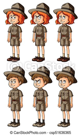 man and woman in safari outfit illustration clip art vector search rh canstockphoto com free safari border clip art safari clipart free download