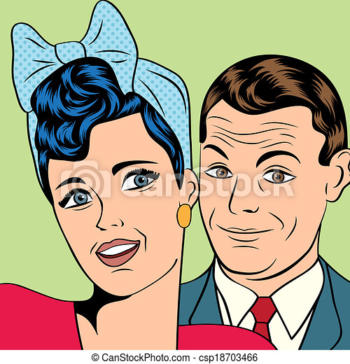 man and woman love couple in pop art comic style vector illustration