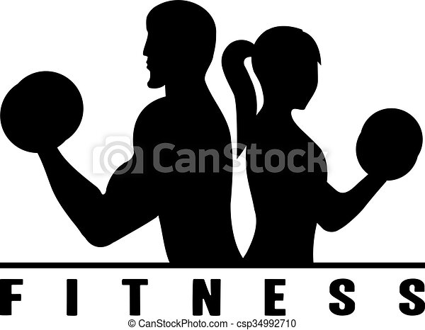 Man And Woman Of Fitness Silhouette Character Vector Illustration