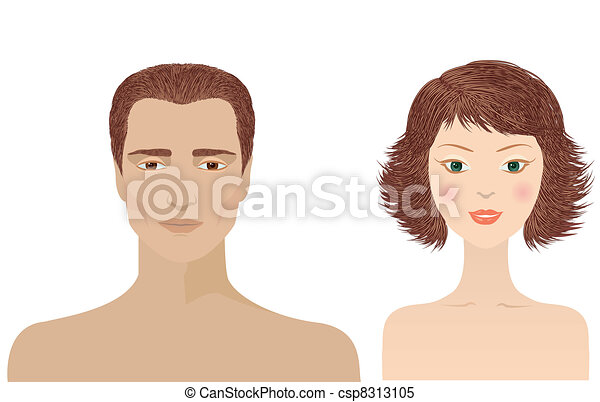 Man and woman portraits  isolated for design - csp8313105