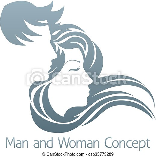 Man and Woman Profile Concept - csp35773289