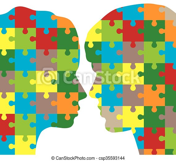 man and woman puzzle - csp35593144