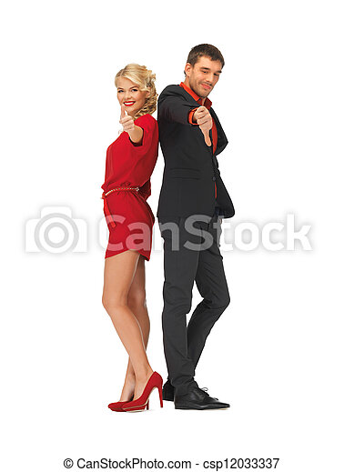 man and woman showing thumbs up, down - csp12033337