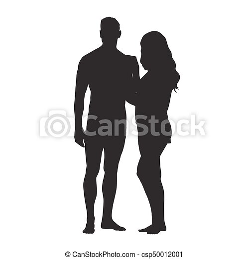 Man and woman standing side by side and holding each other, loving couple vector silhouette - csp50012001