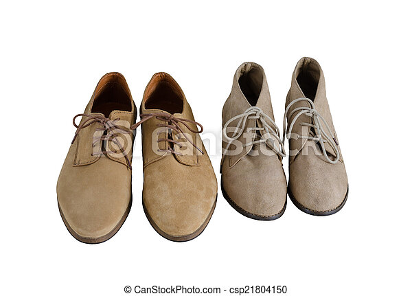 Man and Woman Suede Leather Shoes Isolated on White - csp21804150