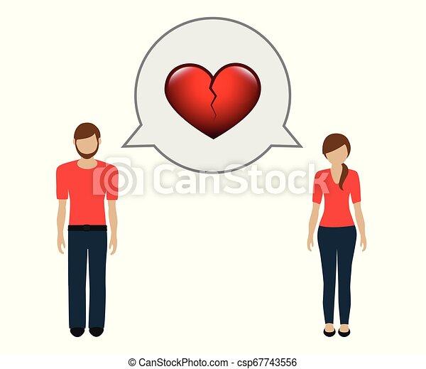 man and woman talk about separation broken heart - csp67743556