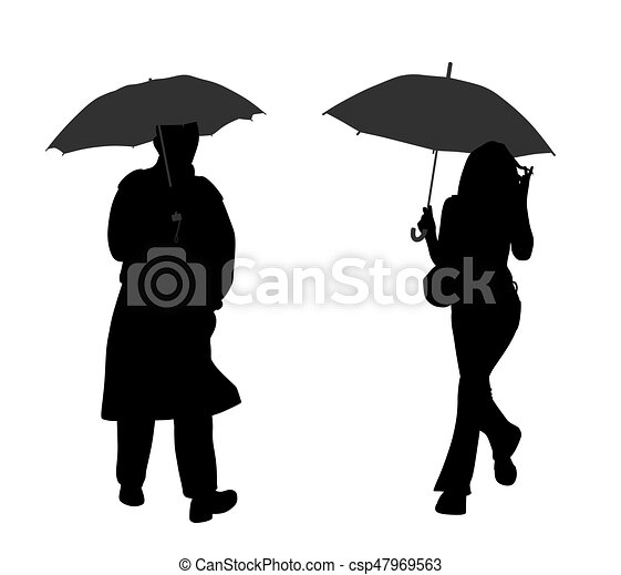 man and woman with umbrella silhouettes of a man and woman with an