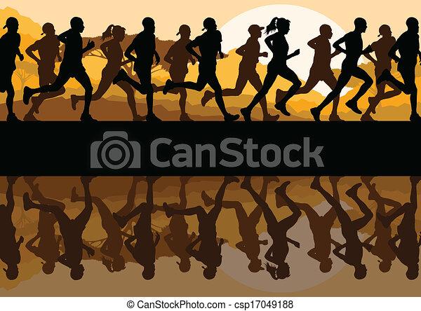 Man and women marathon runners - csp17049188