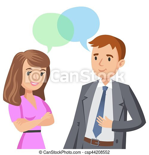 man and women talking meeting colleagues or friends vector rh canstockphoto ie Students Talking Clip Art two person talking clipart
