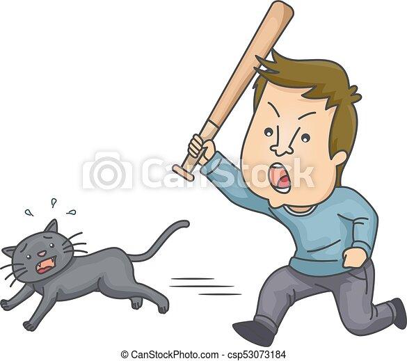 Man Animal Cruelty Cat Bat Illustration