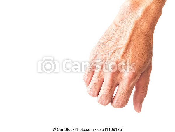Man arm with blood veins on white background, health care concept.