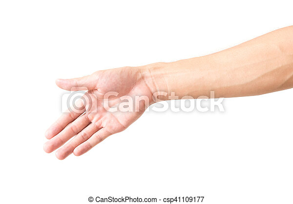 Man arm with blood veins on white background.