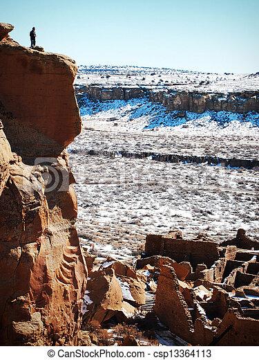Man at Chaco Canyon Ancient Ruins - csp13364113