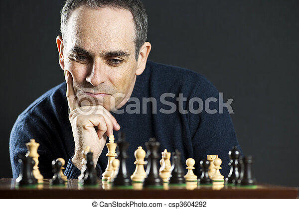 Man at chess board - csp3604292