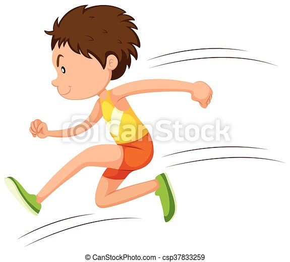 Man athlete running in a race - csp37833259