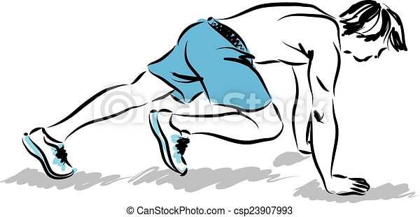man athlete stretching exercises il - csp23907993