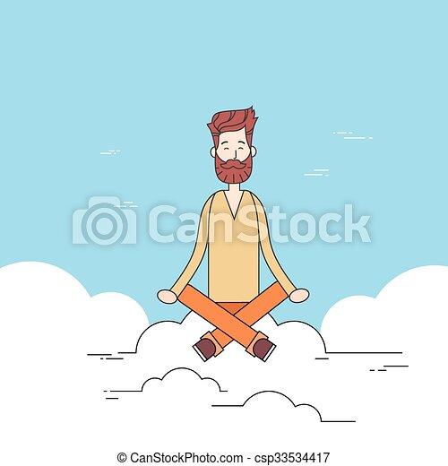 Man Beard Sitting On Cloud Mediation Yoga Lotus Pose Hipster - csp33534417