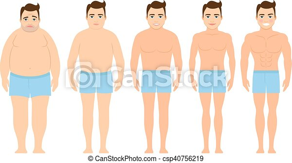 Man before and after a diet - csp40756219
