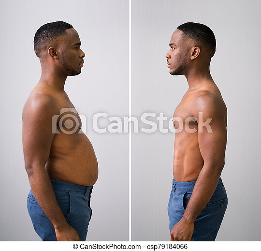 Man Before And After From Fat To Slim Concept - csp79184066