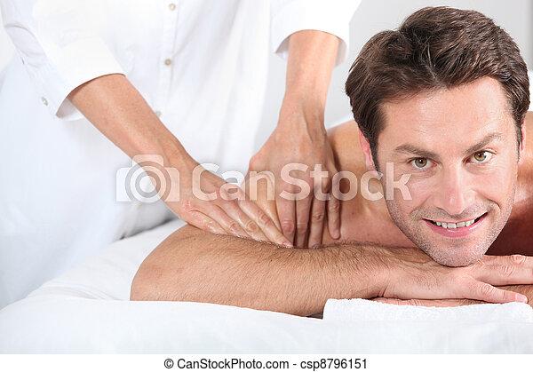 Man being given a massage. - csp8796151
