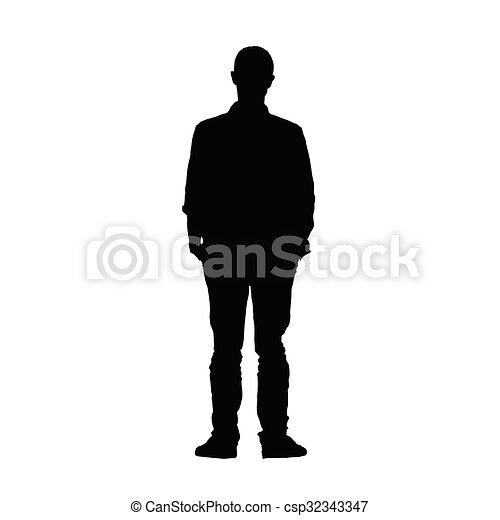 man black vector silhouette - csp32343347
