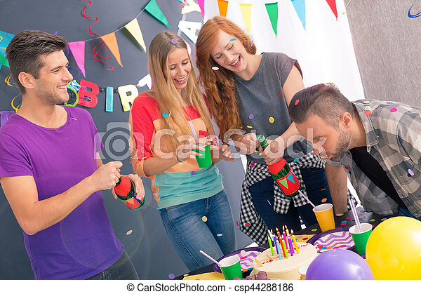 Man blowing out the candles - csp44288186