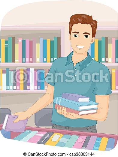 Man Bookstore Books - csp38303144