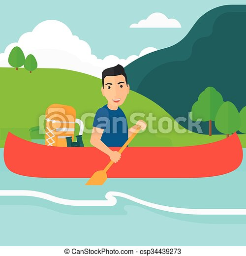 Man Canoeing On The River