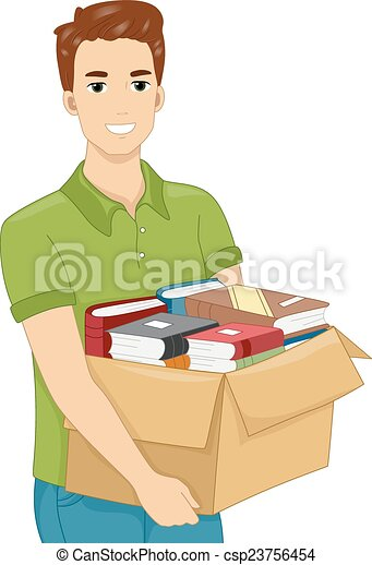 Man Carrying a Box of Books - csp23756454