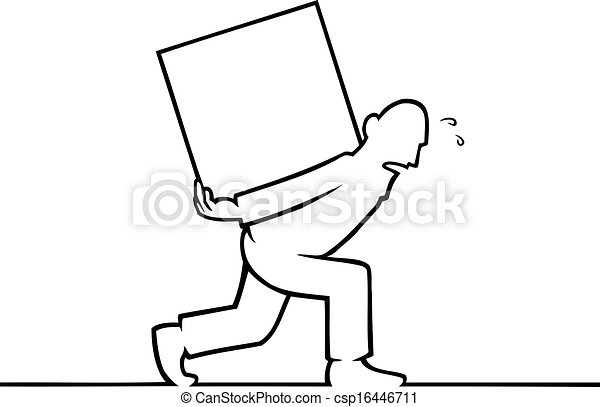 Man carrying a heavy box on his back - csp16446711