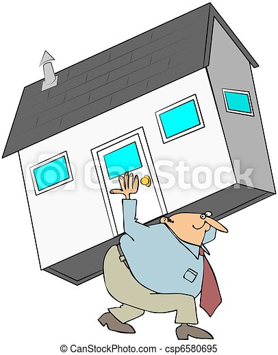Man Carrying A House On His Back - csp6580695