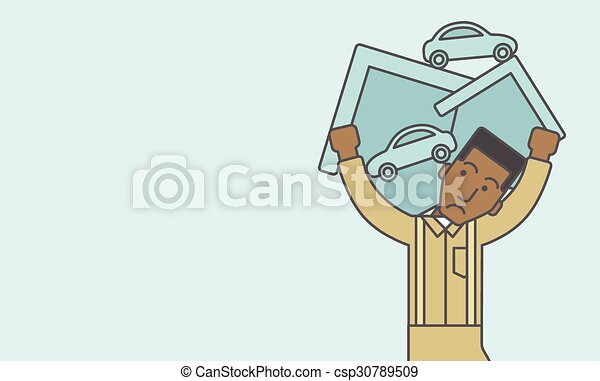 Man carrying house and car. - csp30789509