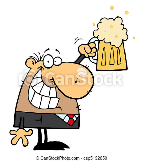 Man Celebrating a Pint of Beer - csp5132650