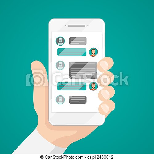 Man chatting with chat bot on smartphone vector illustration - csp42480612
