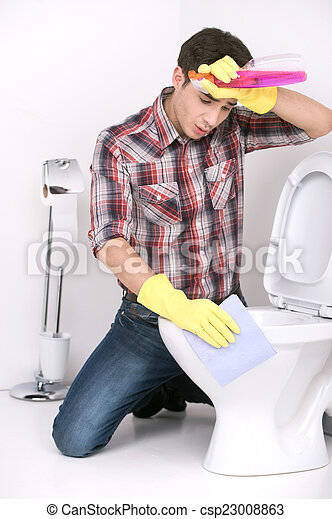 Man Cleaning Toilet With Spray Cleaner Tired Guy Wiping Forehead - Bathroom cleaner person