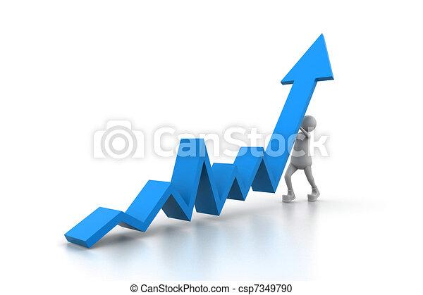 Man climb blue growth arrow - csp7349790