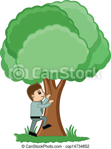 Drawing Art Of Cartoon Man Climbing On A Tree Vector Illustration