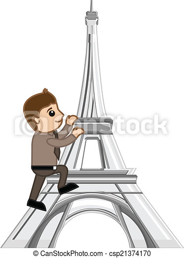 man climbing on eiffel tower vector