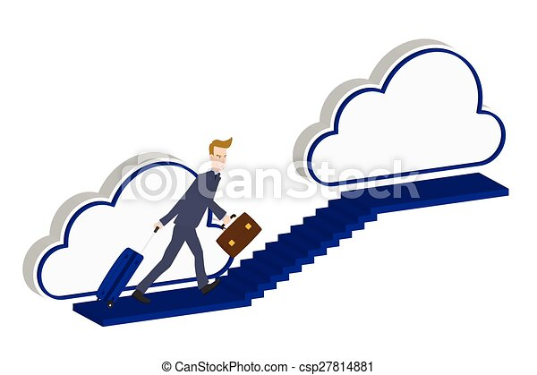 Man climbs the ladder stairs of success and a virtual career - csp27814881