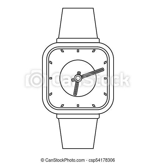Man clock icon, outline style. - csp54178306