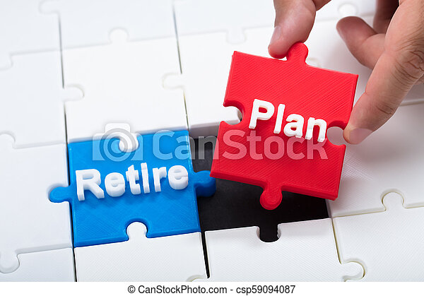Man connecting retirement plan piece into jigsaw puzzle - csp59094087