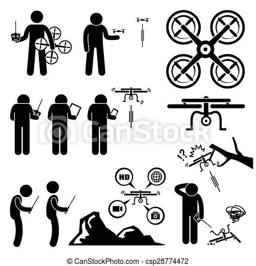 Man Controlling Drone Quadcopter - csp28774472